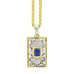 18K White and Yellow Gold Sapphire Necklace