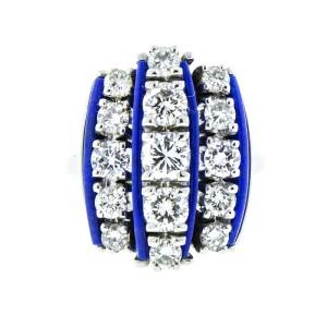 18K White Gold Diamond and Lapis 3 Bar Ring