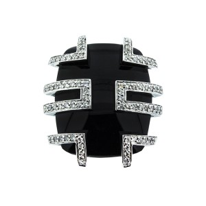 18K White Gold Black Stone and Diamond Ring