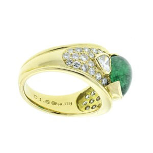 18K Yellow Gold Natural Emerald and Diamond Ring