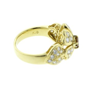 18K Yellow Gold Diamond Flower Ring