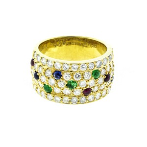 18K Yellow Gold Diamonds and Color Stone Band Ring