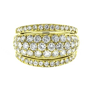18K Yellow Gold 5 Row Diamond Band Ring