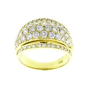 18K Yellow Gold 5 Row Diamond Band Ring