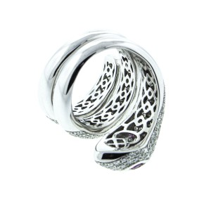 18K White Gold Diamond Snake Ring