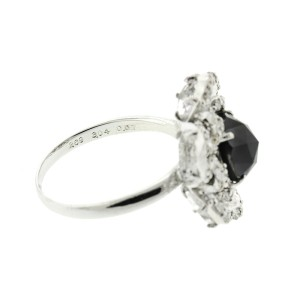18K White Gold Hematite and Diamond Ring