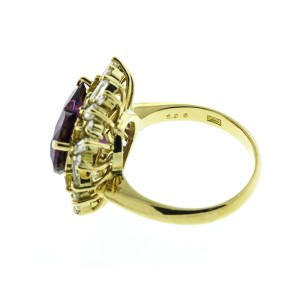 18K Yellow Gold Heart Shape Amethyst and Diamond Ring