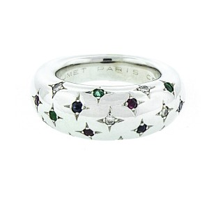 Chaumet 18K White Gold Diamond And Color Stone Ring