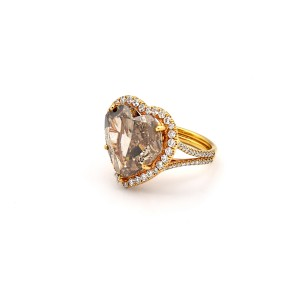 8.04 Carat Fancy Deep Orange Brown Heart Shaped Diamond Ring GIA Ring Size 5.5
