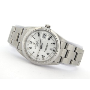 Mens Rolex Stainless Steel Date White Roman 15200