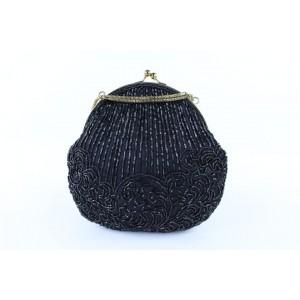 La Regale Kisslock Chain Bag17mj0120 Black Sequin Clutch