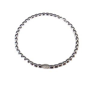 18K White Gold Bead and Diamond Stretch Bracelet