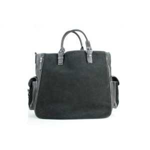 Lambertson Truex Expandable 2way Satchel 60misa13117 Black Suede Leather Tote