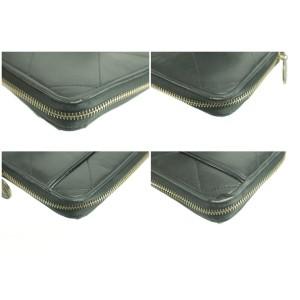 Lanvin Quilted Long Zippy Wallet Black Leather Zip Around Clutch