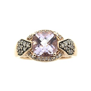 Le Vian 14k Rose Gold Chocolate and White Diamond Amethyst Ring