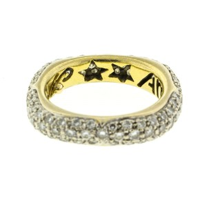 18k Yellow Gold Pave Diamonds Square Ring