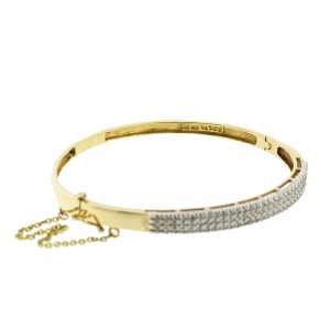 14k Yellow and White Gold Diamond Bangle