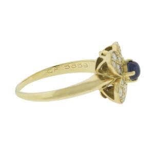 Van Cleef & Arpels 18k Yellow Gold Diamond Cabochon Sapphire Flower Ring