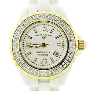 Swiss Legend White Karamica SL-10051-WWSA Ceramic Diamond Watch