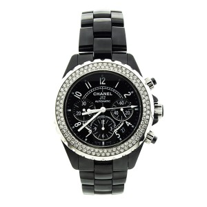 Chanel J12 Black Ceramic Chronograph Diamond Bezel Watch