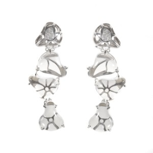 LeaderLine 18K White Gold Quartz Diamond Drop Earrings