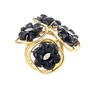 18K Yellow Gold Multi-Diamond & Onyx Flower Ring