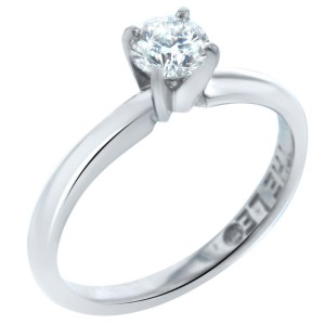 Leo Diamond 0.48cts 14K White Gold Setting Platinum Band Ring