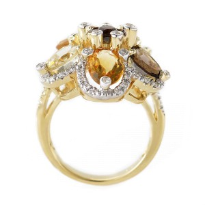 LeVian 14K Yellow Gold Smoky Topaz Citrine Flower Ring