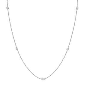 14K White Gold Bezel Set Solitaire 0.39CT Diamond Pendant Necklace
