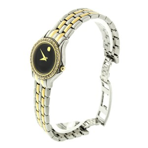 Movado Museum Two Tone 85-e4-9812 Diamond Bezel Watch