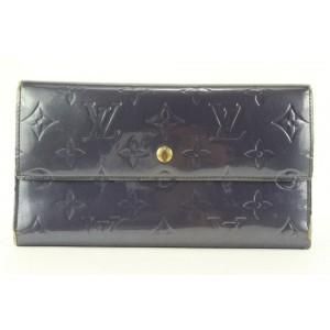 Louis Vuitton Blue Monogram Vernis Sarah Wallet Long Porte Tresor 159lvs430