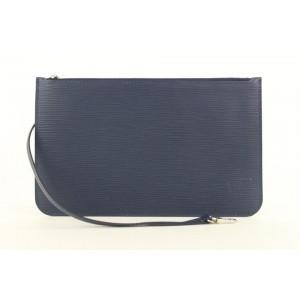 Louis Vuitton Navy Blue Epi Leather Neverfull Pochette Wristlet Pouch Bag 270lvs512