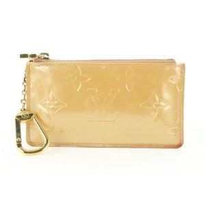 Louis Vuitton Nude Beige Florentine Monogram Vernis Key Pouch Pochette Cles 8lvs421