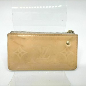 Louis Vuitton Beige Monogram Vernis Key Pouch Coin Purse Pochette Cles M91346 861167