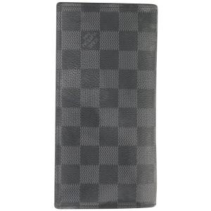 Louis Vuitton Damier Graphite Brazza Wallet Long Flap Black Grey 312lvs517