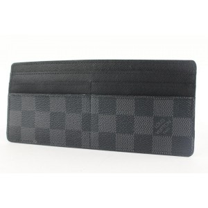 Louis Vuitton Black Damier Graphite Long Card Holder Wallet Case Porte Cartes 40lvs4