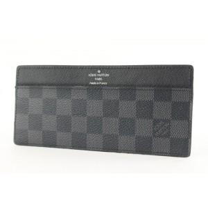 Louis Vuitton Black Damier Graphite Long Card Holder Wallet case 157lvs430