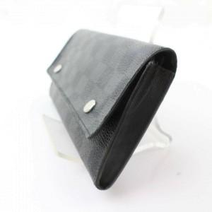 Louis Vuitton Black Damier Graphite Long Snap Bifold Flap 871169 Wallet