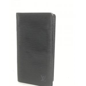 Louis Vuitton Black Epi Noir Long Bifold Card Wallet Brazza 4la520