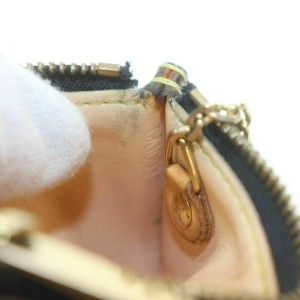 Louis Vuitton Black Monogram Multicolor Key Pouch Pochette Cles Keychain 861264