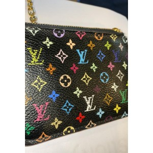 Louis Vuitton Black Monogram Multicolore Key Pouch Pochette Cles NM Keychain 861069