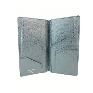 Louis Vuitton Charcoal Black Glacier Taiga Leather Brazza Long Wallet 17LVA1022