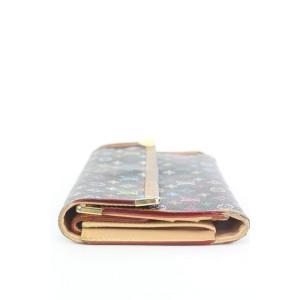 Louis Vuitton Black Monogram Multicolor Sarah Flap Wallet 3lvs17