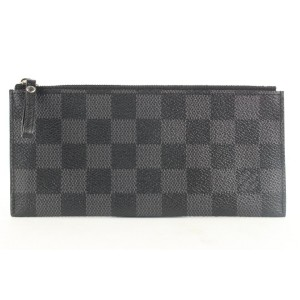 Louis Vuitton Rare Black Damier Graphite Long Zip Pouch Pochette Cles 523lvs38