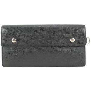 Louis Vuitton Black Taiga Leather Accordion Chain Wallet Long Flap 426lv61