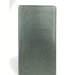 Louis Vuitton Black Taiga Leather Long Bifold Flap Wallet 10ALV102