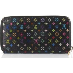 Louis Vuitton Black Monogram Multicolor Noir Zippy Wallet Long Zip Around 861809