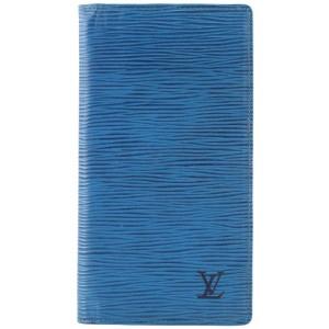 Louis Vuitton Blue Epi Leather Toledo Long Bifold Flap Wallet 137lvs429