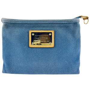 Louis vuitton Blue Antigua Canvas Pochette Plate Cosmetic Bag 11l520