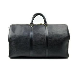Louis Vuitton Black Epi Leather Noir Keepall 50 Boston Duffle 862505